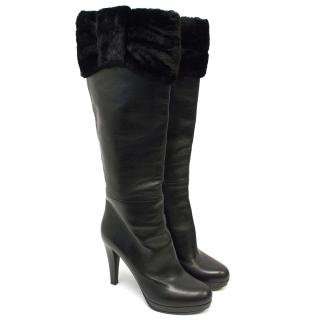 Valentino Black Boots with Fur Trim