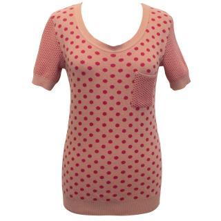 Sonia by Sonia Rykiel Polka Dot Cotton Knit T-Shirt