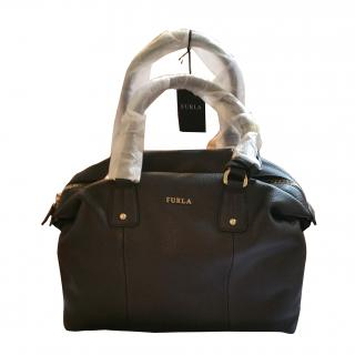 Furla black large leather handbag