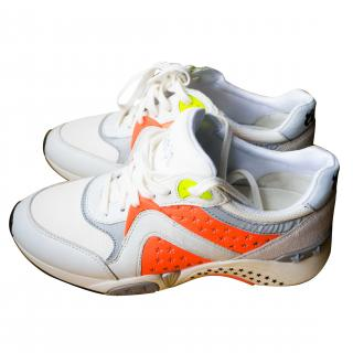 Ash Hendrix Ter Trainers White, Orange Leather & Suede
