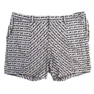 Aqua By Aqua Black and White Tribal Printed Hector Shorts