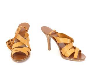 Chloe Gladiator Camel Leather Heeled Sandals