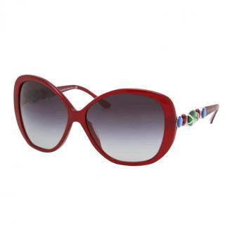 Bvlgari 8080B Red Butterfly Gemstone Sunglasses