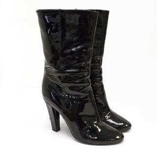 Jimmy Choo Black Patent Mid Calf Heel Boots