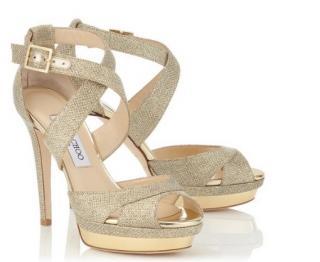 267e749f111 BNIB Jimmy Choo Kuki Lame Glitter Gold High Heel 37 38 Uk Size 4
