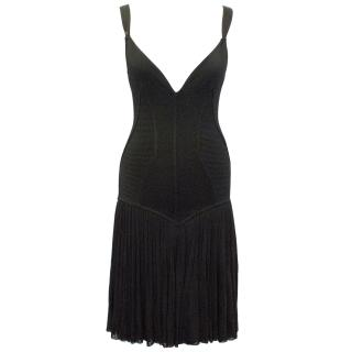 Alaia Black Ribbed and Pleated Dress