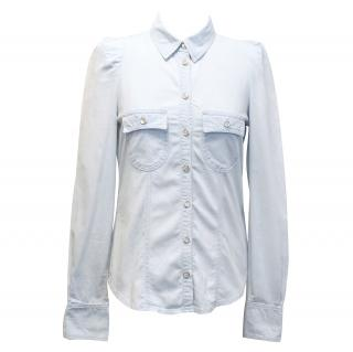 Maje Light Blue Cotton Western Shirt