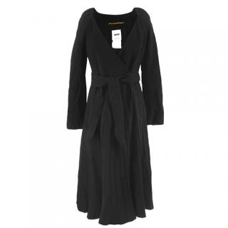 Moschino pleated wool wrap dress