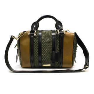 Burberry Prorsum Green Black and Brown Woven Bag