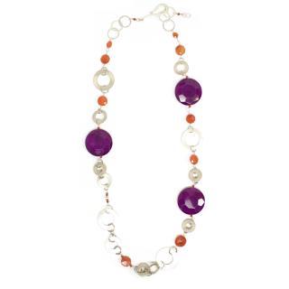 Purple Stones and Silver Colour Chain Necklace
