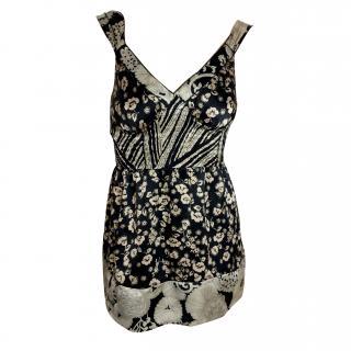 Hale Bob black & cream flower print silk top
