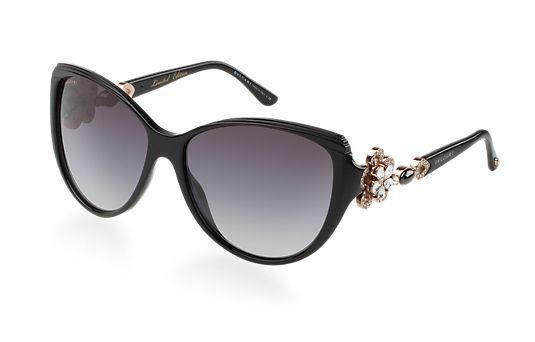 Bvlgari 8097b Black Swarovski Crystal Flower Sunglasses | HEWI London