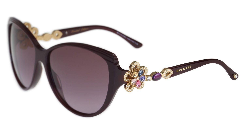 5bad6aed4d Bvlgari 8097b Purple Swarovski Flower Sunglasses