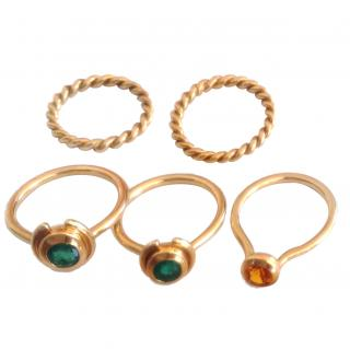 Saphire, Emerald and Gold Mix and Match Rings