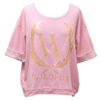 Wildfox Short Sleeved Pink Sweatshirt