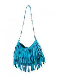 Yves Saint Laurent Turquoise Fringe Shoulder Bag