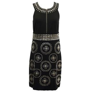 Diane Von Furstenberg Black Studded Dress