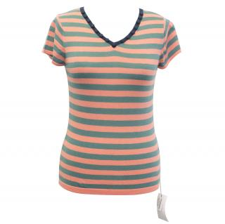 Markus Lupfer Coral Pink, Green Striped Cotton Knitted Top
