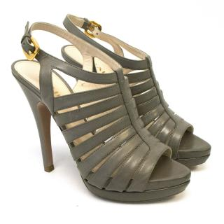 Prada Grey Leather Strappy Platforms