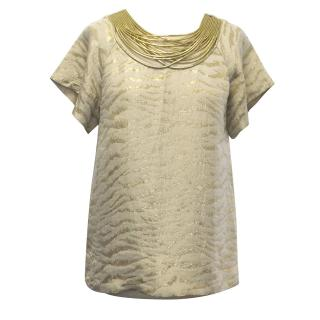3.1 Phillip Lim Gold Zebra Printed Silk Blend Top