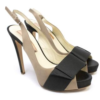 Rupert Sanderson Black and Taupe Satin Slingback Platforms