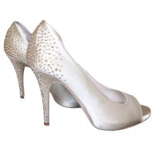 Escada beige satin and rhinestone heels