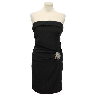 Sandro Black Strapless Draped Silk Blend Dress