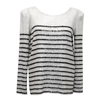 Balmain Sequinned Embellished Striped Top