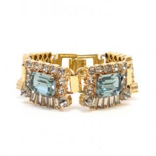 Mawi Gold Metal and Blue Rhinestone Bracelet