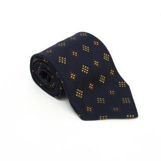 Ermenegildo Zegna Navy Blue Square Print Tie