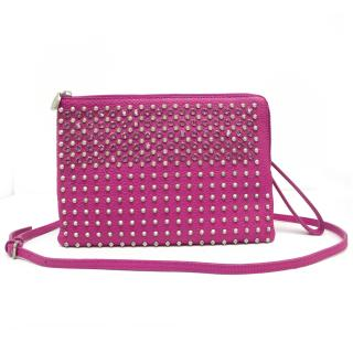 MCM Pink Leather Studded Crossbody Pouch
