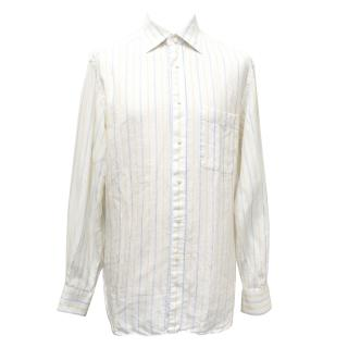 Ermenegildo Zegna Off White, Yellow and Blue Striped Linen