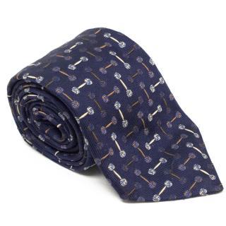 Turnbull & Asser Navy Blue Tie with Cufflink Print