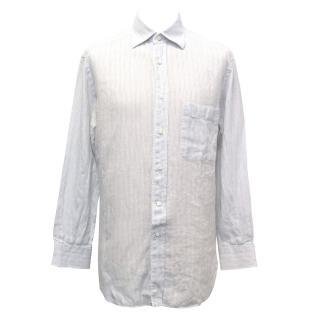 Ermenegildo Zegna Pale Blue and White Striped Linen Shirt