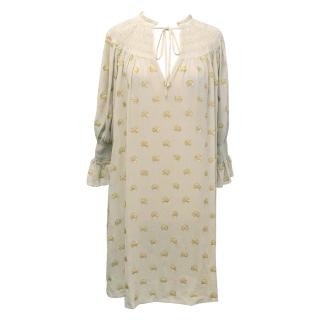 Temperley London Beige and Gold Dotted Silk Dress
