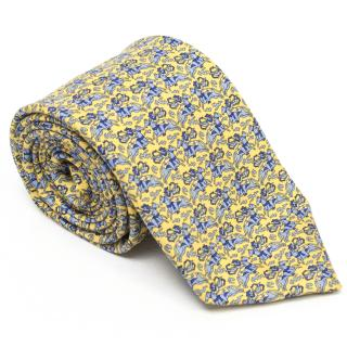 Pink Thomas Pink Yellow Archer and Horse Print Silk Tie