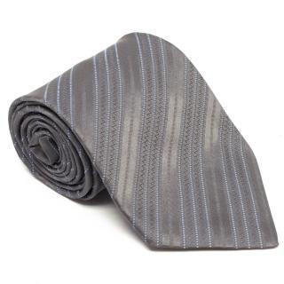 Charvet Grey and Blue Striped Tie