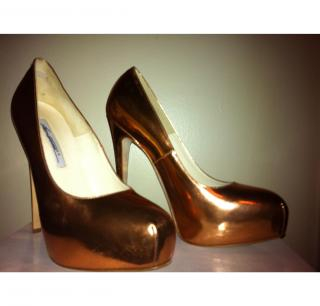 Brian Atwood Maniac Metallic Pump, Rose Gold