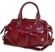 COACH ASHLEY Patent Leather Large Satchel Bag Garnet