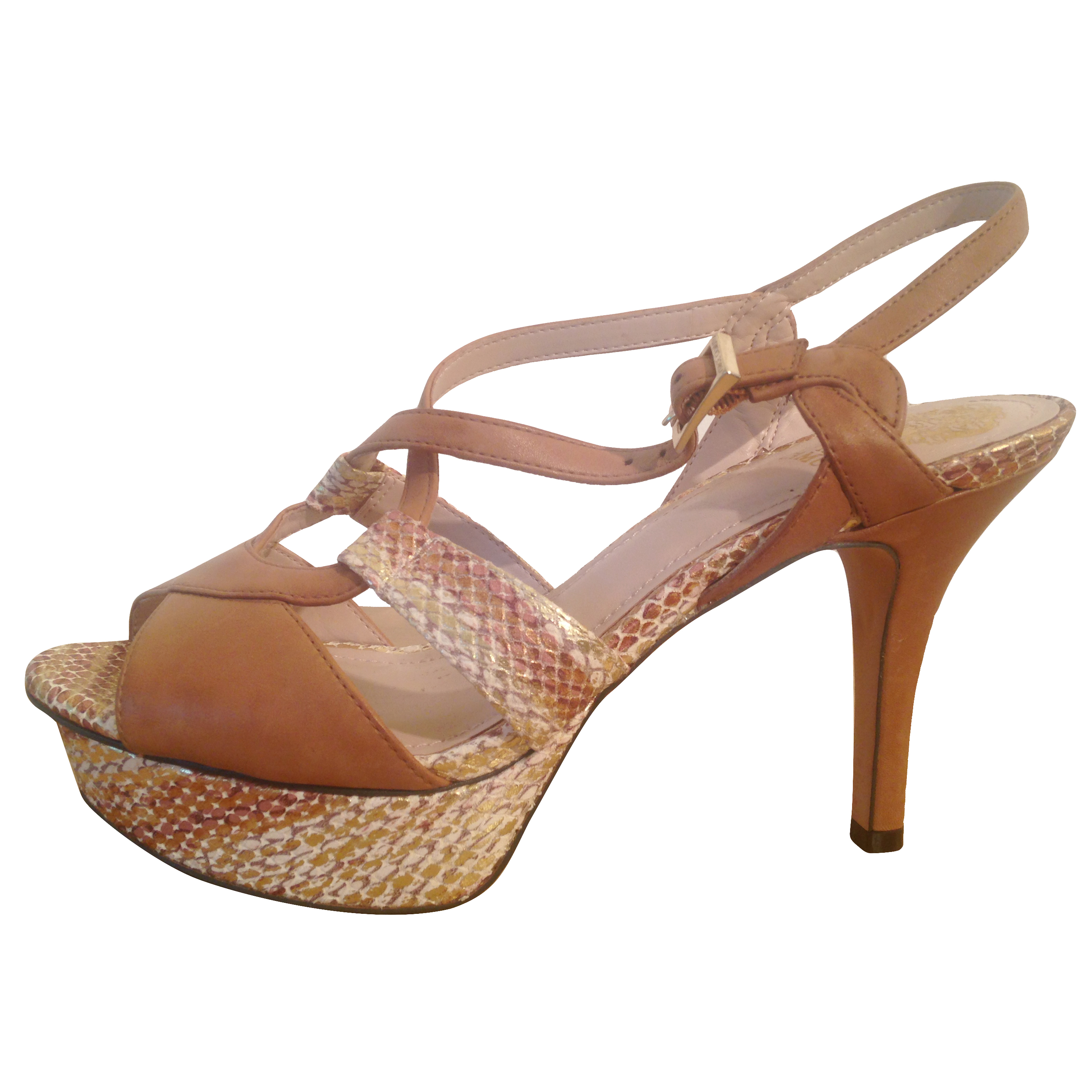 Vince Camuto tan leather high heels with snakeskin detail