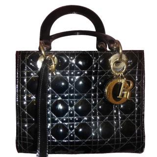 Christian Dior Black Cannage Leather Lady Dior Bag