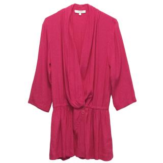 Iro Crossover Hot Pink Rayon Playsuit with Cropped Sleeves