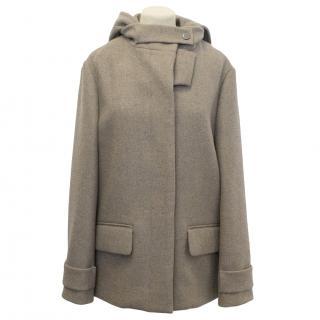 Chloe Beige Wool Angora Coat with Detachable hood