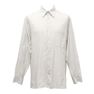 Ermenegildo Zegna White Shirt with Grey and Yellow Stripes