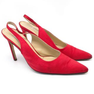 Gina Red Satin Slingback Pumps