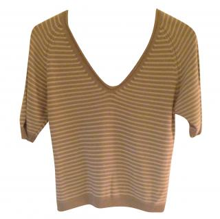 Flippa K grey & white stripe cotton & viscose pullover top