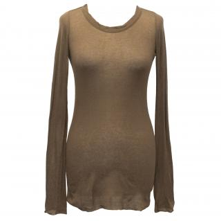 Rick Owens Khaki Ribbed Knit Long Sleeve T-Shirt