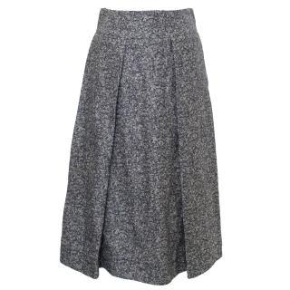 Studio Nicholson Navy Tweed Linen Midi Skirt