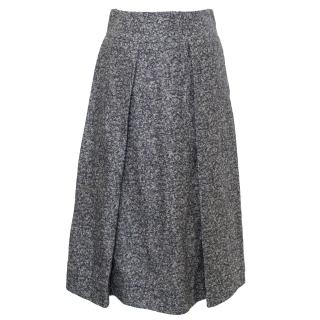 Studio Nicholson Navy Tweed Linen Midi Skirt