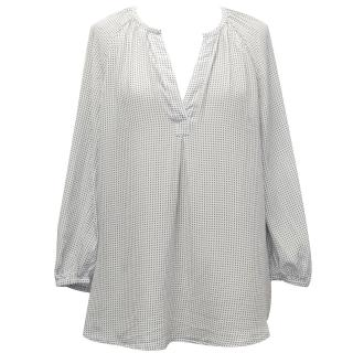 Joie Off-White Silk Blouse with Blue Square Print